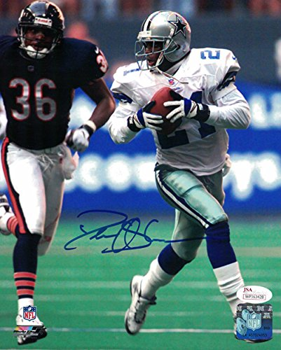 Deion Sanders Autographed Dallas Cowboys 8x10 Photo (vs Bears) JSA -