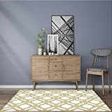 Stain Resistant Rug abstract pattern in arabian style seamless vector background gold and white Keeps Your Rugs Safe and in Place 2' X 4'