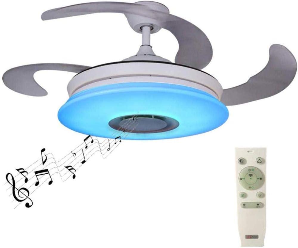 Ventiladores de techo con luces y altavoz Bluetooth 42.5Inch Lámpara plegable Ventilador RGB Regulable 36W Lámpara de techo con control remoto Para sala de estar dormitorio