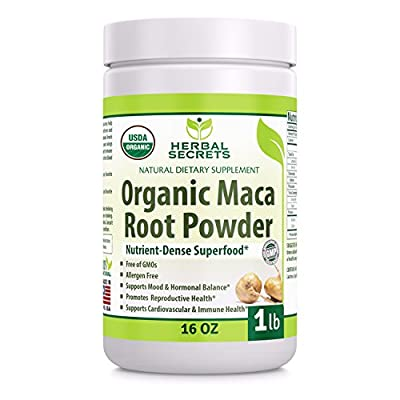 Herbal Secrets USDA Certified Organic Maca Root Powder- 16 oz (1 lb)- GMO FREE- Supports Healthy Mood, Hormonal Balance, Cardiovascular Health & Immune Health from Herbal Secrets
