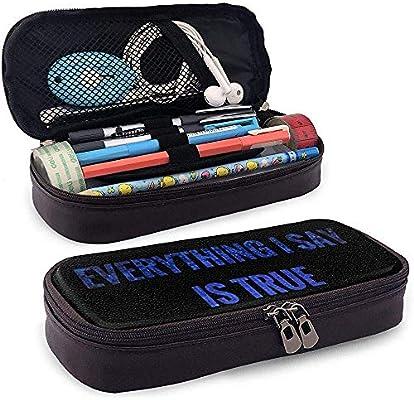 Todo lo que digo es verdadero Estuche de lápices de cuero multifunción Funda de lápiz Bolso de maquillaje, 4X9X20 cm: Amazon.es: Oficina y papelería