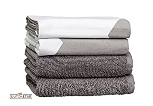 Matching Kitchen Dish Towels Sturdy Decorative Super Absorbent 100% Premium Natural Cotton Dish and Terry Hand Towels, Extra Large Size, White Gray Design,4-Pack Gift Set, Kitchen Tea Towel