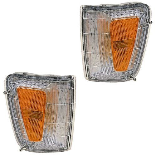 00 T100 Pickup Truck Park Corner Light Turn Signal Marker Lamp Pair Set Right Passenger AND Left Driver Side (1993 93 1994 94 1995 95 1996 96 1997 97 1998 98) ()