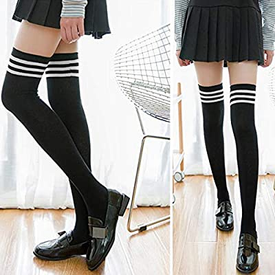 ONESING 8 Pairs Thigh High Socks Over the Knee Thigh Cotton Socks Long Boot Stockings Cotton Leg Warmers for Girls Women at Women's Clothing store
