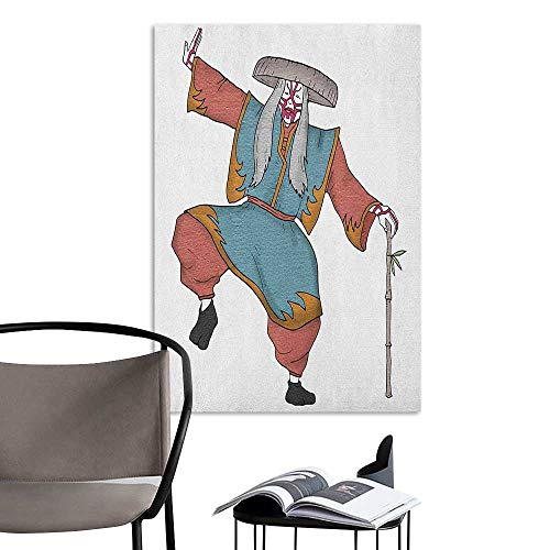 Alexandear Retro Poster Decorative Painting Kabuki Mask Cultural Asian Character Posing with Traditional Hat Make Up and Costume Print Multicolor Boys Kids Bedroom W8 x -