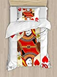 Queen Duvet Cover Set by Ambesonne, Queen of Hearts Playing Card Casino Decor Gambling Game Poker Blackjack Deck, 2 Piece Bedding Set with 1 Pillow Sham, Twin / Twin XL Size, Red Yellow White