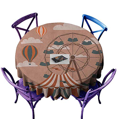 ONECUTE Resistant Table Cover,Circus Ferris Wheel Flying Hot Air Balloons Sky Clouds Fun Holiday Themed Illustration,for Banquet Decoration Dining Table Cover,47 INCH Multicolor