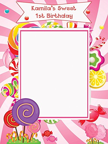 Custom Candy Land Birthday Photo Booth Prop - Size 36x24, 48x36; Personalized Candy shoppe Frame, Candyland Birthday , Sweet Candy Shoppe Party photo booth, Handmade DIY Party Supply Photo Booth (Candy Stripe Photo)