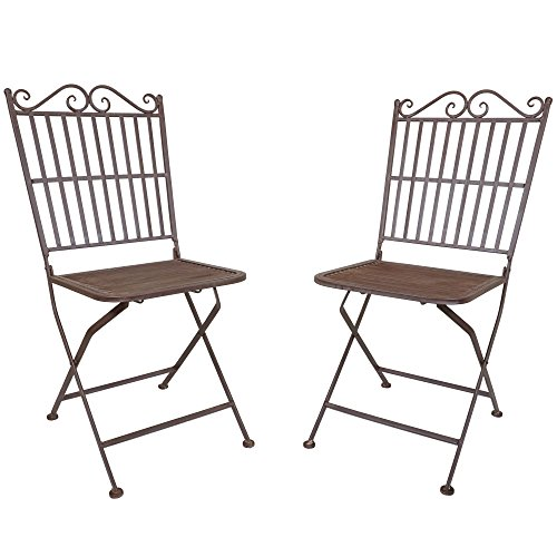 Pair of Titan Outdoor Metal Folding Chair Patio Garden Seat Deck Decor Rustic by Titan Outdoors