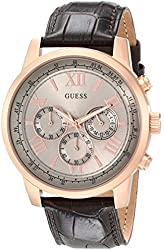 GUESS Men's U0380G4 Chronograph Brown Watch with Rose Gold-Tone Case & Genuine Leather