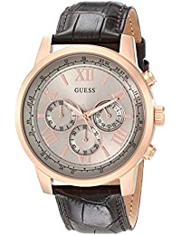 GUESS Men's U0380G4 Chronograph Brown Watch with Rose Gold-Tone Case & Honest Leather