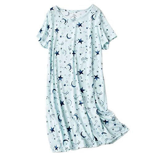 (ENJOYNIGHT Women's Sleepwear Cotton Sleep Tee Short Sleeves Print Sleepshirt (X-Large, Star) )