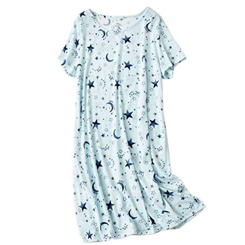 ENJOYNIGHT Womens Cotton Sleepwear Short Sleeves Print Sleepshirt Sleep Tee (Moon Star, (Sleep Sleepshirt)