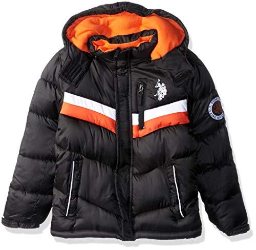 US Polo Association Boys' Little Classic Bubble Jacket, Black, 5/6
