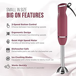 Chefman Immersion Stick Hand Blender Includes Stainless Steel Shaft & Blades, Powerful 300 Watt Ice Crushing 2-Speed Control One Hand Mixer, Soft Silk Touch Grip - Wine Red