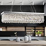 Rectangle Clear K9 Crystal Chandelier Pendant Lamp Lighting Fixture 8 Lights for Dining Living Bedroom Room - Chrome Frame 40''...