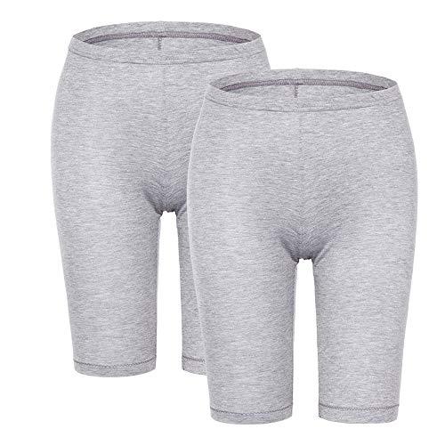 (MANCYFIT Slip Shorts for Women Short Leggings Mid Thigh Legging Plus Size Undershorts Flat Gray 2 Pack X-Large)