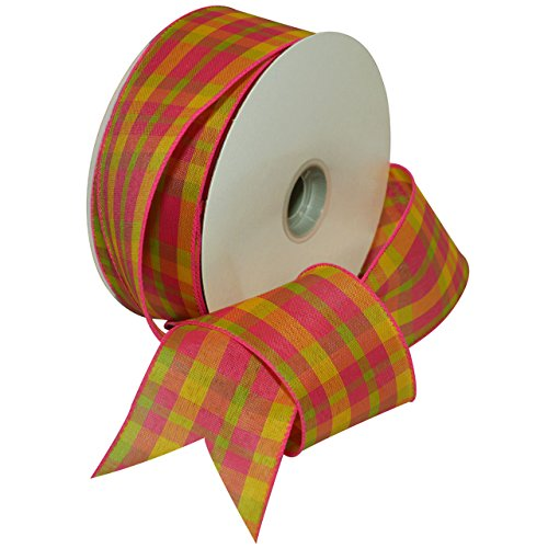 Morex Ribbon 7380.60/50-019 Color Chic Plaid French Wired Ribbon, 2-1/2-Inch by 50-Yard Spool, Hot Pink and Bright Yellow