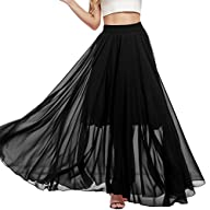 Meaneor Women's Casual Contrast Polka Dot Print Chiffon Maxi Skirts