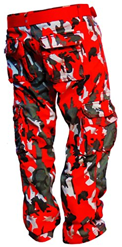 Royal Threads Canada Premium Camouflage Cargo Pants (Camo-Red, W30 x L30)