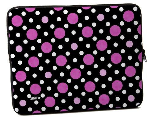 Designer Sleeves 15-Inch Polka Dots Laptop Sleeve, Black/Pink/White (15DS-PDBPW)