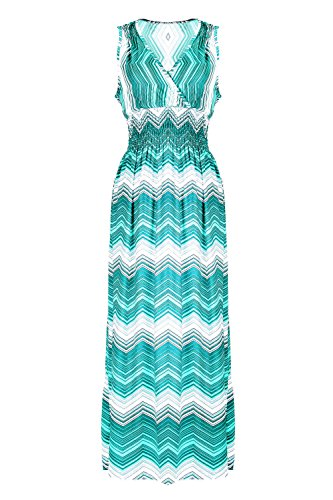 G2 Chic Women's Printed Tropical Multicolor Maxi Dress(DRS-MAX,GRN-M)