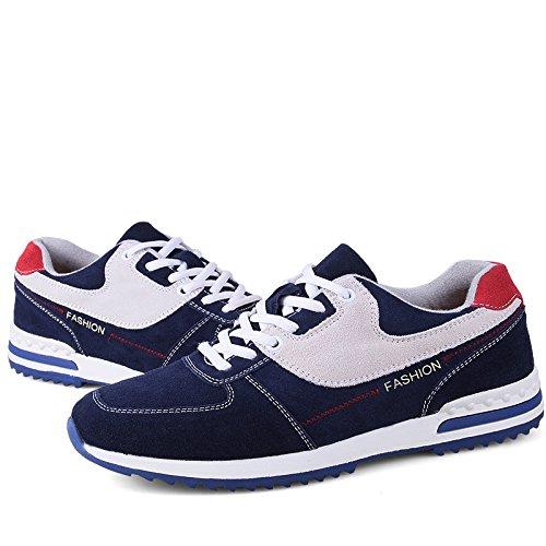 Abby 37568 Mens Sports Löparskor Tillfälliga Bekväma Trendiga Mysiga Athletic Inre Bli Högre Snörning Mocka Sneakers Blå