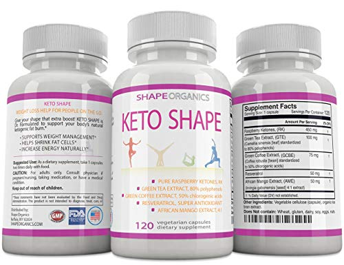 Keto Shape Fat Burn Formula: Max KETOSIS Energy Booster Complex Diet Pill That Works Fast for Women and Men, Green Tea, Coffee Bean Extract, Raspberry Ketone, African Mango, Resveratrol 120 Veg Cap