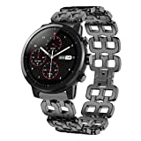 For Huami Amazfit 2S,Sunfei Stainless Steel Chain Style Bracelet Smart Watch Band Strap (Black)
