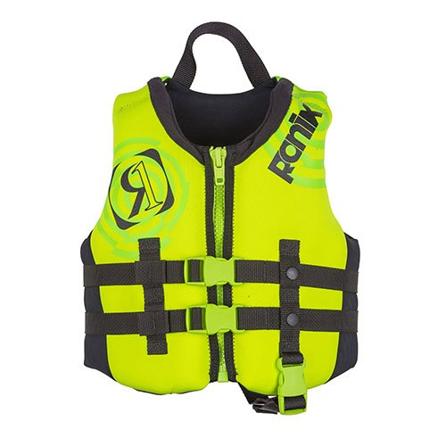 Front Zip Vest (Ronix 2018 Vision Boy's Front Zip CGA Vest Child (Lime/Yellow) Kid's Life Jacket)