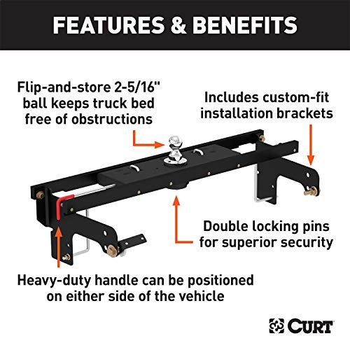 CURT 60712 Double Lock Gooseneck Hitch with Flip-and-Store Ball, 30,000 lbs., 2-5/16-Inch Ball, Fits Select Chevy Silverado, GMC Sierra 1500, 2500 LD, 2500 HD, 3500