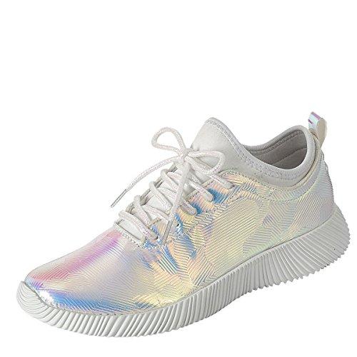 new concept 6fb26 e3158 Pour Toujours Femmes Orteil Rond Lace Up Holographique Gym Fitness Formateur  Courir Mode Sneaker Chaussures Blanc