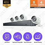 Samsung Wisenet SDH-B84041BF 8 Channel 4MP Super HD DVR Video Security System with 1TB Hard Drive and 4 1080p Weather Resistant Bullet Cameras (SDC-9443BC)