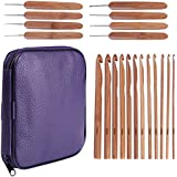 20 Carbonized Bamboo Crochet Hooks, Full Gift Set, Lightweight, Ergonomic, Eco-Friendly, Size C to N, Steel Hook Sizes 1.0-2.75MM