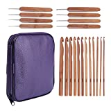 20 Carbonized Bamboo Crochet Hooks, Full Gift Set, Lightweight, Ergonomic, Eco-Friendly, Size C to N, Steel Hook Sizes 1.0-2.75MM