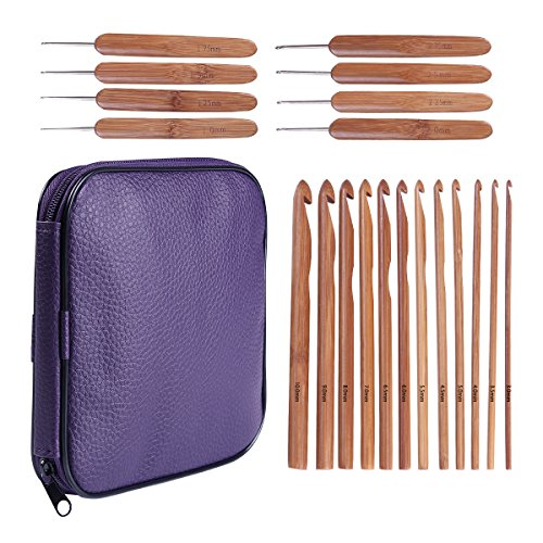 20 Carbonized Bamboo Crochet Hooks, Full Gift Set, Lightweight, Ergonomic, Eco-Friendly, Size C to N, Steel Hook Sizes 1.0-2.75MM by KOKNIT