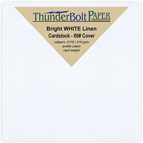 250 Bright White Linen 80# Cover Paper Sheets - 4