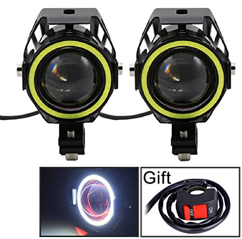 Motorcycle Headlight Cree U7 LED Fog Lights Spotlight Daytime Running Lights with White Angel Eyes Halo Ring and Switch 125W 2-sets