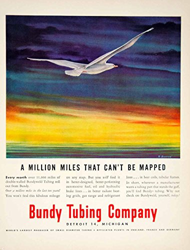 1951 Ad Bundyweld Tubing R Boston Art Seagull Bird Animal Wildlife Ocean YFT7 - Original Print Ad from PeriodPaper LLC-Collectible Original Print Archive