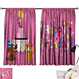 Jinguizi 1st Birthday Curtain Doorway Animal Party with Sweet Cat and Dog on Pink Color Polka Dot Abstract Backdrop Window Darkening Curtains Multicolor W55 x L39