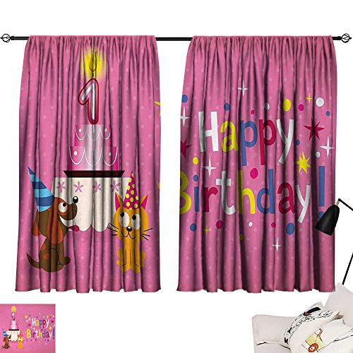Jinguizi 1st Birthday Curtain Doorway Animal Party with Sweet Cat and Dog on Pink Color Polka Dot Abstract Backdrop Window Darkening Curtains Multicolor W55 x L39 by Jinguizi (Image #6)