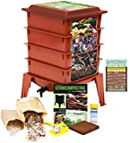 """Worm Factory 360 Worm Composting Bin + Bonus """"What Can Red Wigglers Eat?"""" Infographic Refrigerator Magnet - Vermicomposting Container System - Live Worm Farm Starter Kit for Kids & Adults"""