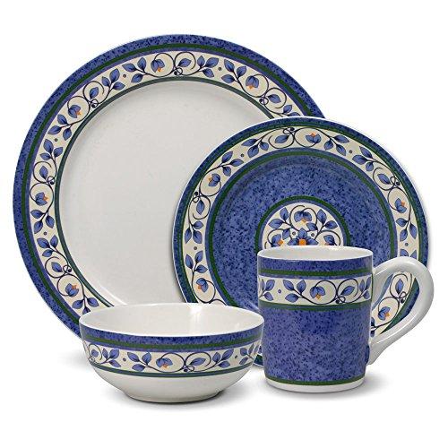 Flow Blue Soup Bowl - Pfaltzgraff Orleans Dinnerware Set, 16 Piece