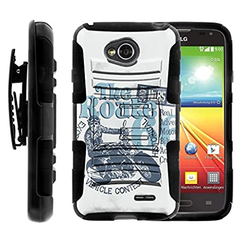 TurtleArmor | LG Optimus L70 Case | LG Ultimate 2 Case | LG Exceed 2 | LG Realm [Hyper Shock] Hard Reinforced Rugged Impact Hybrid Belt Clip Hard Stand - Motorcycle (Routes And Realms)