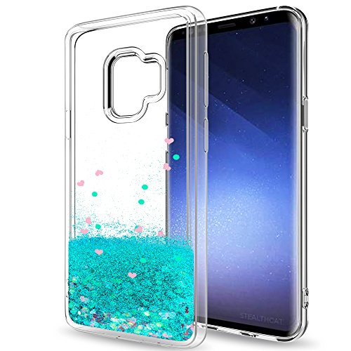 Samsung Galaxy S9 Glitter Case (Not Fit S9 Plus) for Girls Women, LeYi Sparkle Shiny Bling Liquid Clear TPU Protective Phone Case Cover for Galaxy S9 ZX Turquoise