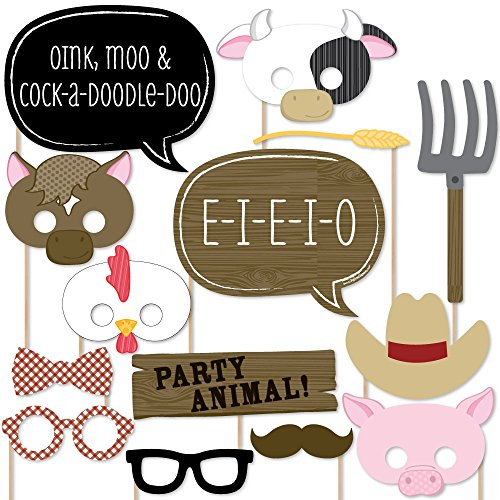 Farm Animals - Baby Shower or Birthday Photo Booth Props Kit - 20 Count - Barnyard Birthday Themes