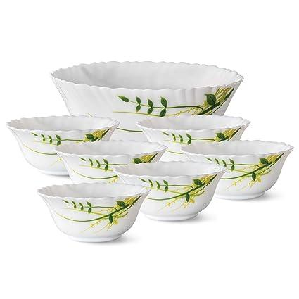 Larah by Borosil Opalware Pudding Set, 7-Pieces, White