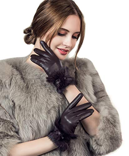 - YISEVEN Women's Touchscreen Lambskin Leather Gloves Rabbit Fur Cuff and Hand Warm Fleece Lined Heated Lining Stylish Luxury Ladies Winter Accessories Work Dress Driving Xmas Gift, Brown 7.0