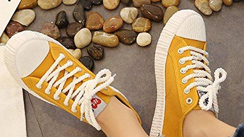 De Adulto Fshion Costura Mujeres Primavera Zapatos XINGMU Mujer Zapatos Sneakers Amarillo Las Tejido Sólidos Tela qzTSZO