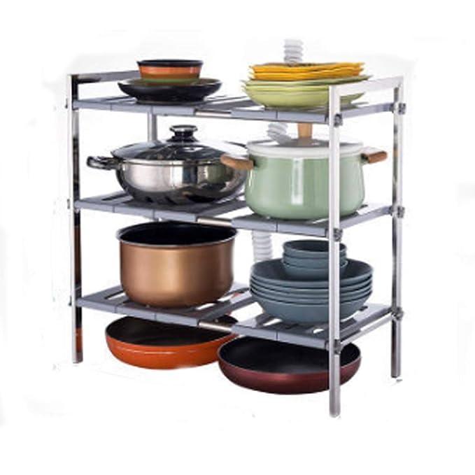 LINrxl Organizadores de estantes de cocina de 3 niveles Estante ...